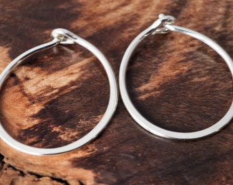 Hoop Earrings Sterling Silver. Small Shiny Polished Sleepers. Boho Urban Gypsy Sleek Elegant. Eco Recycled Reclaimed Everyday Design