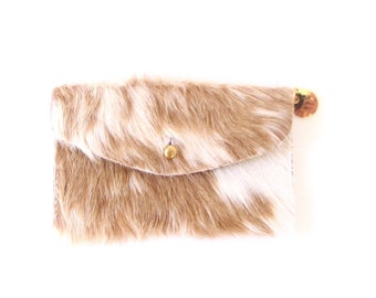 Palomino Leather Wallet - Beige and Ivory Hair on Hide Wallet - Light Brown Pony Hair Wallet - Palomino Fur Clutch