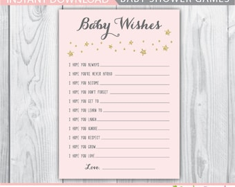 wishes for baby printable / wishes for baby / baby wishes / wishes for baby girl / baby shower games / twinkle stars wishes for baby
