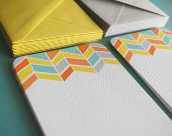 LIMITED Chevron pattern flat notecards, set of 8
