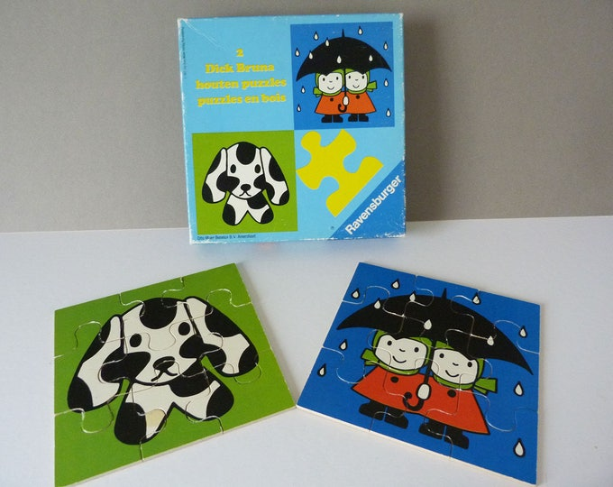 Vintage Miffy Wooden Puzzles illustration by Dick Bruna