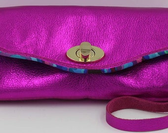 Hot pink metallic cowhide leather necessary clutch wallet, NCW, accordion wallet
