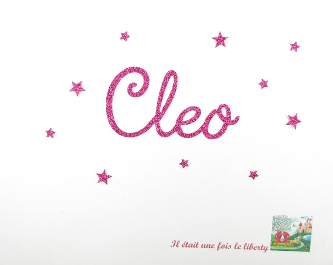 Applied fusible customizable glitter name of 4 letters (example, Cleo) glitter fabric (colors)