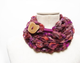 Loop Infinity Scarf Necklace, Crochet Scarflette Neckwarmer - Purple, Brown, Orange multicolor yarn with giant wood button