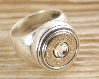 Bullet Ring / 45 Auto Sterling Inlaid Bullet Ring WIN-45A--N/B-INR / Sterling Ring / Sterling Bullet Ring / Sterling Silver Ring / Custom