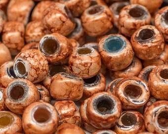 Orange  Crow Beads, 50pcs, 9mm, Orange Beads, Pony Beads, Large Hole  Beads -B94