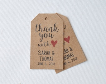 Kraft Brown Small Label Tags - Custom Wedding Favor & Gift Tags - Thank You With Love