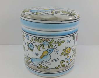 Berardos Portugal Pottery Lidded Canister Vintage Hand Painted, Numbered and Signed