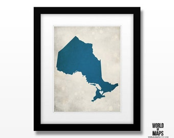 Ontario - Canada Map Print - Home Town Love - Personalized Art Print Available in Different Sizes & Colors