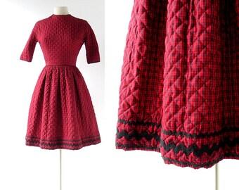 Vintage Lanz Dress | Red Plaid Dress | 1960s Dress | XXS