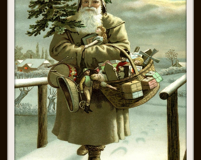 Instant Download, Christmas Printable, St Nic, Digital Print, Graphic Print, Wall Art Print, Vintage, Santa Illustration, Printable, toys