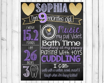 Monthly Milestone Chalkboard | Month to Month Baby's First Year Photos | Monthly Photo Shoot Props | Monthly Chalkboards | Girl Month Sign