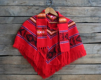 Vintage Children's Red Poncho or Cape with Collar