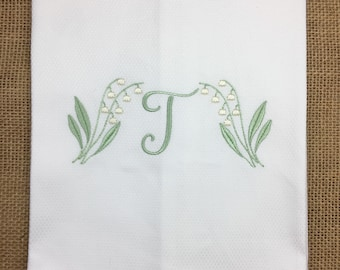 Spring Hand Towel, Monogrammed Hand Towel, Embroidered Tea Towel, Lily of the Valley, Lillies, Embroidered Towel
