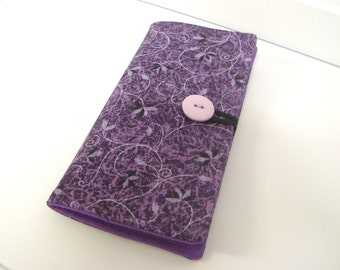 12 Card Loyalty Card Organizer, Business Card Holder  Credit Card Wallet  Purple Floral Vine