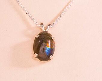 Spectrolite Oval Cabochon Pendant Necklace, Labradorite Necklace