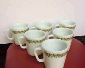 Set Of 6 Vintage Pyrex Coffee Mugs - Spring Blossom - Crazy Daisy - 1410 - White Milk Glass - Green Flowers - Made In USA - Retro Kitchen