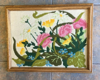 Vintage framed needlepoint flowers 80's bright colors pink blue green brown orange 14 by 17.5  inches