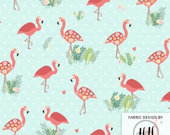 Flamingo Floral Fabric By The Yard / Tropical Flamingo Fabric / Pink Flamingos and Flowers Print in Yards & Fat Quarter