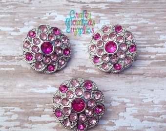 ON SALE Hot Pink & Light Pink Rhinestone Buttons, 3 Acrylic Buttons, Round, Swirl, 25mm, Baby Headband, Hair Bows, DIY Wedding, Crafts   25S
