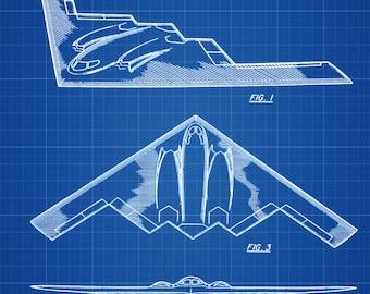 B-2 Bomber Patent - Airplane Blueprint, Aviation Art, Airplane Art, Pilot Gift, Aircraft Decor, Airplane Poster, Northrop Poster, Air Force