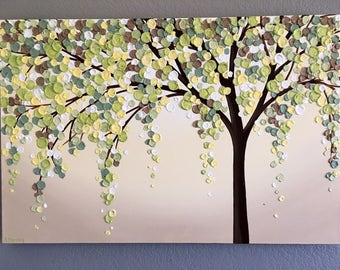 Yellow, Green, and Brown Textured Tree, Original Acrylic Painting on Canvas, select your size