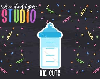 SALE Baby Bottle Die Cuts Printable, Blue Boy Die Cuts, Baby Shower Printable, Scrapbook Die Cuts
