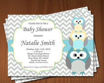 Owl Baby Shower Invitation Boy Baby Shower invitations Printable Baby Shower Invites -FREE Thank You Card - editable pdf Download (540) blue