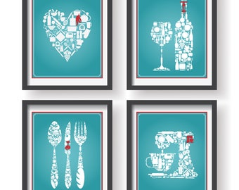 Blue with white and red Modern Kitchen Poster Set - Modern Kitchen - Kitchen wall art - Kitchen Icons Prints Set - Kitchen Kitchen  art work