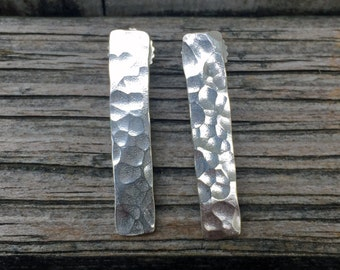 Sterling Silver Bar Earrings - Hammered Earrings - Bar Earrings - Sterling Silver - Sterling Post Earrings - Studs -Hammered Bar Jewelry