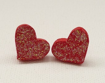 hs-CLEARANCE - Sparkly Red Heart Stud Earrings