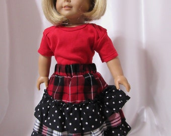 "A 2 pc. knit t-shirt and layered cotton skirt for 18"" dolls"