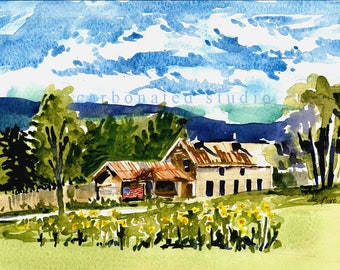 """Reprinted watercolor painting: """"View from Earle Cabin 2"""", 4"""" X 6 1/4"""" blank folded card"""