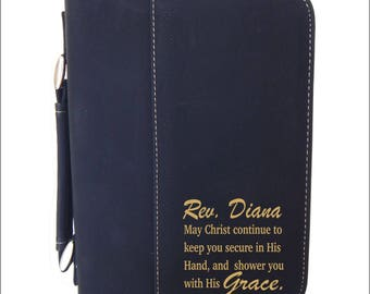 Leather Bible Cover Gift - Christian Gifts for Pastor - Engraved Bible Case - Personalized Leatherette,  BCL016