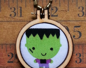 HAlloween teeny Frankenstein Mini Hoop Pendant - fall monster fabric Necklace Jewelry wood