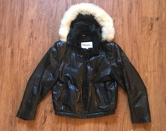 SHOP SALE Vintage 80s 90s Faux Fur Hooded Black Leather Bomber Jacket