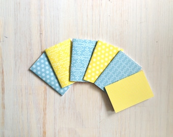Notebooks: 6 Tiny Journal Set, Yellow, Blue, Favors, Small Notebooks, For Her, For Him, Gift, Unique, Mini Journals, Cute, Wedding, T097