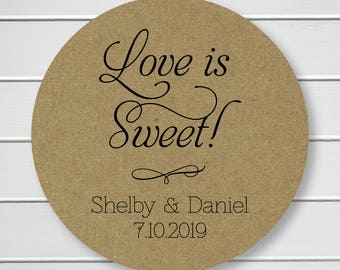 Love is Sweet Wedding Stickers, Rustic Wedding Seals, Wedding Stickers, Kraft Wedding Stickers (#011-KR)