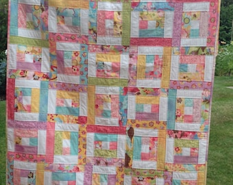 PDF Quilt Pattern for Jelly Rolls, Modern Quilt Pattern, Baby Quilt Pattern, Easy Quilt Pattern - 6 sizes Baby to King - Backyard Bella