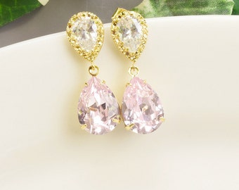 Light Pink Earrings Gold - Swarovski Earrings for Bridesmaids - Bridesmaid Jewelry - Wedding Earrings - Bridal Jewelry - Teardrop Earrings