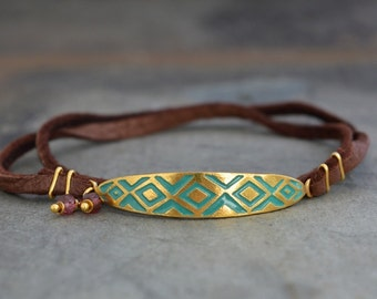 Oval Abstract Triangle / Brown Leather Wrap Bracelet / Spruce Green Glass Enamel / Garnets / Genuine 24k Gold Plate Over Sterling Silver