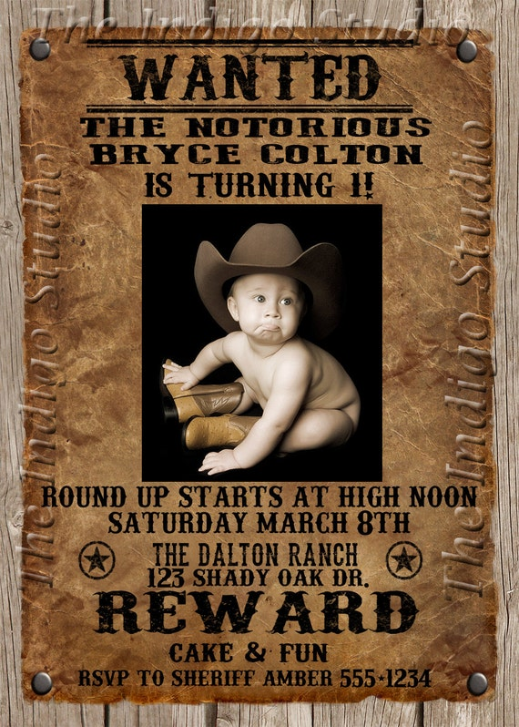 Cowboy Wanted Poster Birthday Party Photo Invitation Invite
