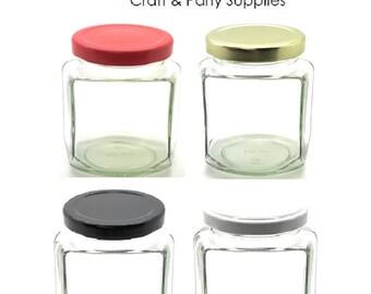 1 pc 9 oz Oval Hexagon Glass Jars