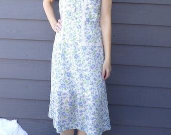 1940's vintage FLORAL DAY DRESS cotton voile 40's xl 35 waist L (D8)