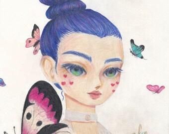 In A Dream Original Colored Pencil Drawing