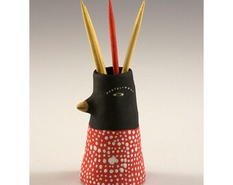 Dwight - Ceramic Bird Toothpick Holding Bud Vase by Jenny Mendes