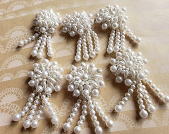 """Pearl Cluster Brooches - Costume Embellishment Pins - 3"""" Tall - 1 3/4"""" Wide - Set of 6 Pieces - DESTASH SALE"""