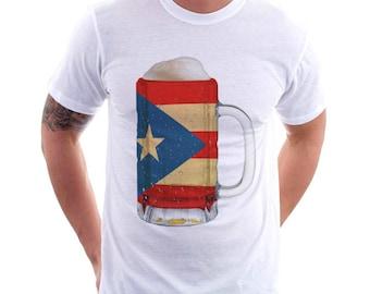 Puerto Rico Country Flag Beer Mug Tee, Home Tee, Country Pride, Country Tee, Beer Tee, Beer T-Shirt, Beer Thinkers, Beer Lovers Tee, Fun Tee
