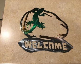 Plasma Cut Kandy painted southwest welcome sign Metal Mancave Garage Wall Art Home Decor
