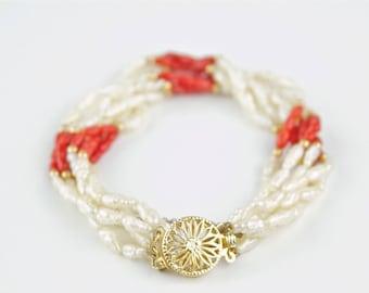 "7.5"" Freshwater Rice Pearl, Red Coral, & 14k Gold Multi Strand Twist Bracelet"